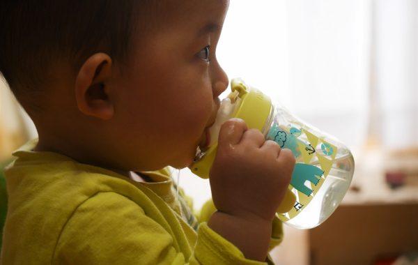 マグで飲む赤ちゃん