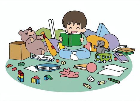 沢山のおもちゃを出して遊ぶ子ども